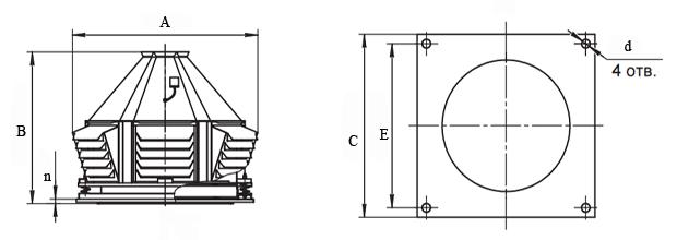 Чертеж вентилятора крышного КРОС-071 ВЕЗА