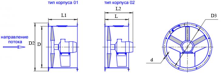 Чертеж вентиляторов осевых ОСА 300